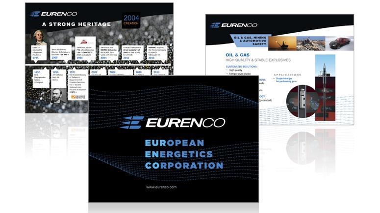 Design graphique du powerpoint de présentation de la société Eurenco