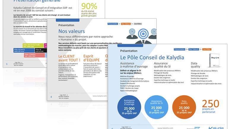 Design graphique du powerpoint de présentation de la société Kalydia