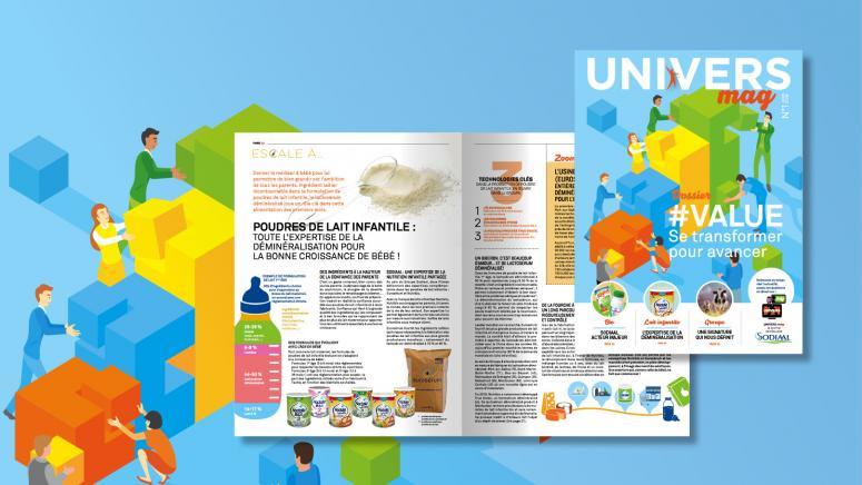 """Design graphique du journal interne du Groupe coopératif Sodiaal """"Univers Mag""""."""